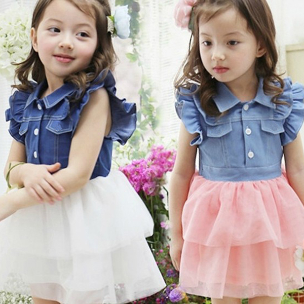 eb415280dfa Toddler Kids Girls One Piece Ruffled Lace Dress Denim Gauze Baby Tutu  Vestidos 2-7Y