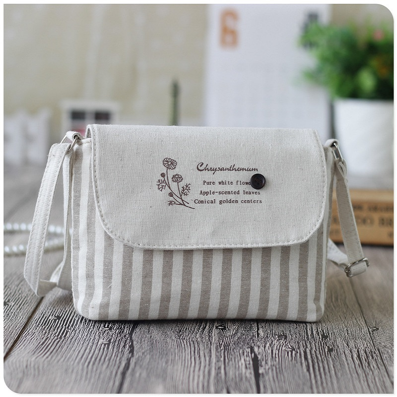 Cotton Women's Mini Handbags Striped Printing Ladies Shoulder Crossbody Bags Female Small Phone Pouches Bolsos Bolsas For Girls