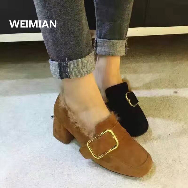 WEIMIAN 2017 Designer Real Fur Square Heel Shoes Genuine Leather Women Winter Warm Ladies Fashion Nubuck Leather High Heel Boots