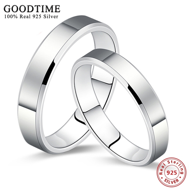 1PCS 925 Silver Jewelry Ring Simple Smooth Pure Solid Silver Couple Wedding Set