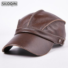 SILOQIN Unisex Genuine Leather Hat 2019 New Style Cowhide Mens Baseball Caps Adjustable Size Womens Brand Visor Cap