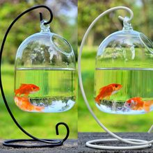 Home Fish Tank Aquariums Hanging Ball Decor Terrarium With Bent Stable Stand Glass Mini Flower Vase Plant Bottle Garden(China)