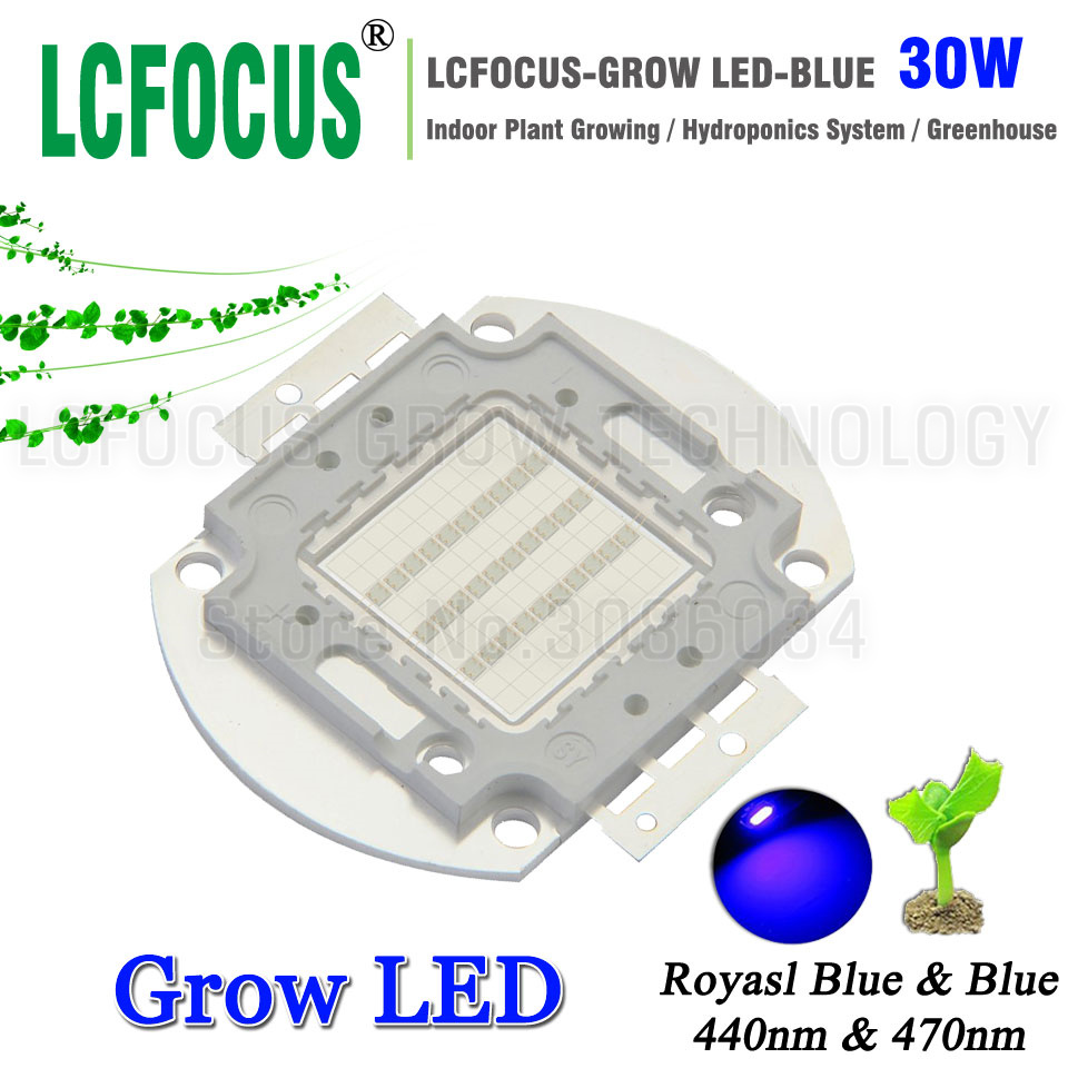High Power LED Chip 30W Royal Blue 440nm <font><b>470nm</b></font> DIY 30W 60W 90W 150W Grow Light For Vegetable Fruit Flower Indoor Plant Growing image