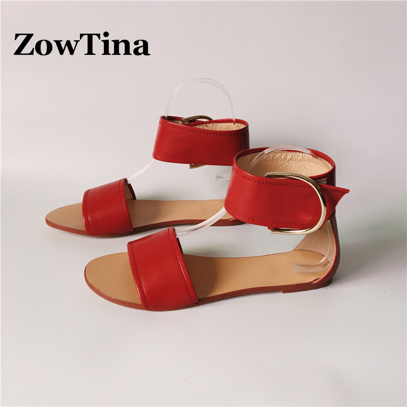 Women Flats Sandalias Red Leather Casual Summer Shoes Woman Buckle Ankle Warp Sandals Gladiator Flip Flops Fashion Zapatos Mujer 2017 gladiator sandals summer platform shoes woman gold silver flats buckle women shoes fashion creepers xwz6816