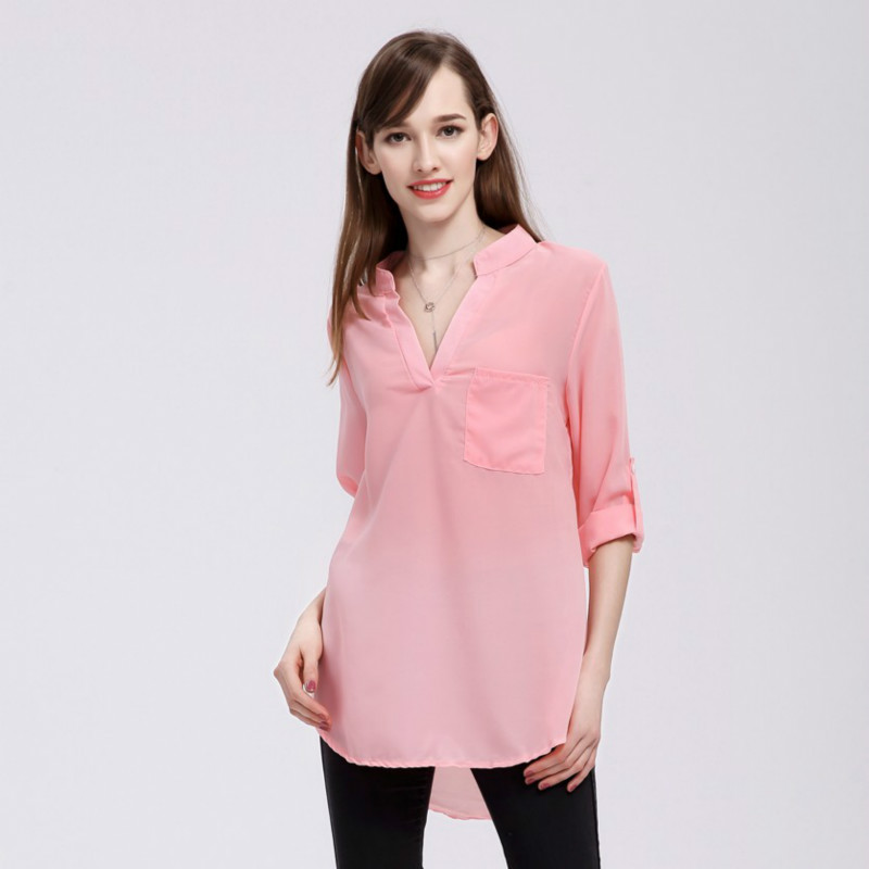 New 2018 Fashion Spring Summer Shirt Casual V Neck Blouse Long Sleeve Pocket Solid Color Loose Chiffon Blause Plus Size Female