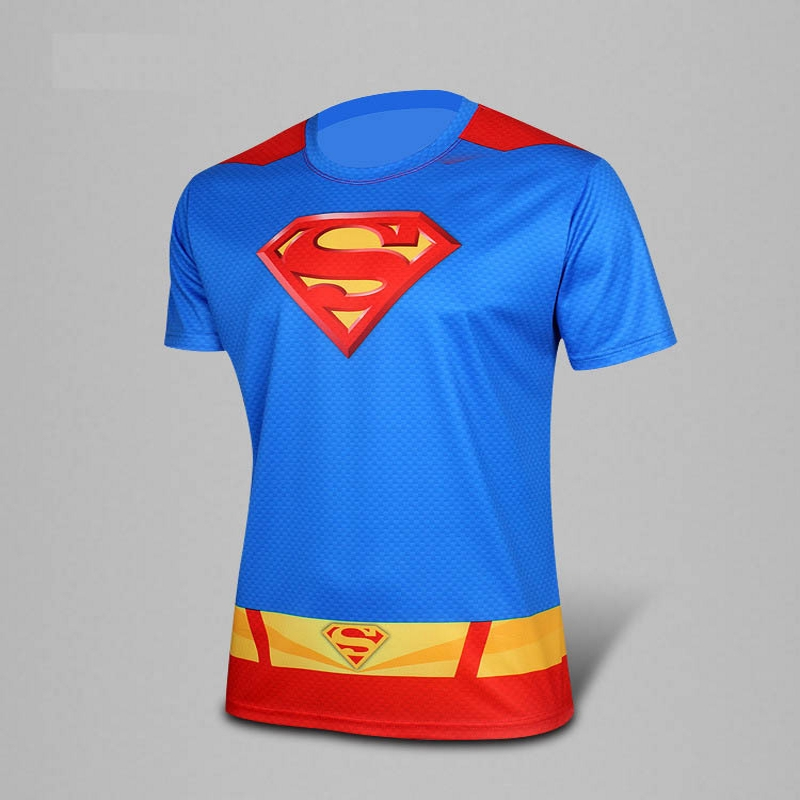 2016 men compressed t-shirt Captain America superman/batman t shirt fitness men quick dry short sleeve men tights shirt