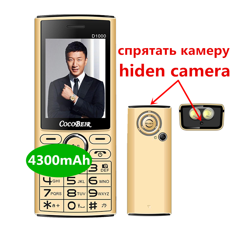 Power Bank 4300 MAh Mobile Phone 2.4 Inch Dual Sim Cellphone Quick Dial Cellular Flashlight MP3 FM Radio D1000 Russian Language