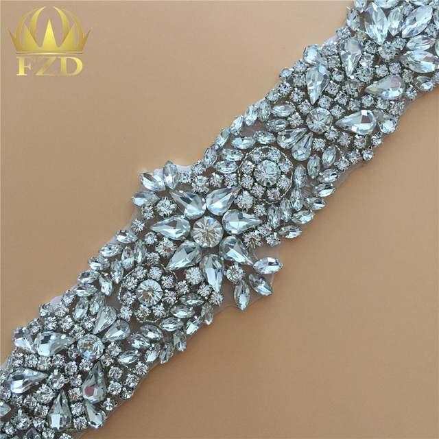 61da12c31c US $8.54  Cloths Rhinestone Applique Trimming For Wedding Dresses Bridal  Sash Belt Sew On Crystals Patches DIY Glass Girdle Strass Sliver-in ...