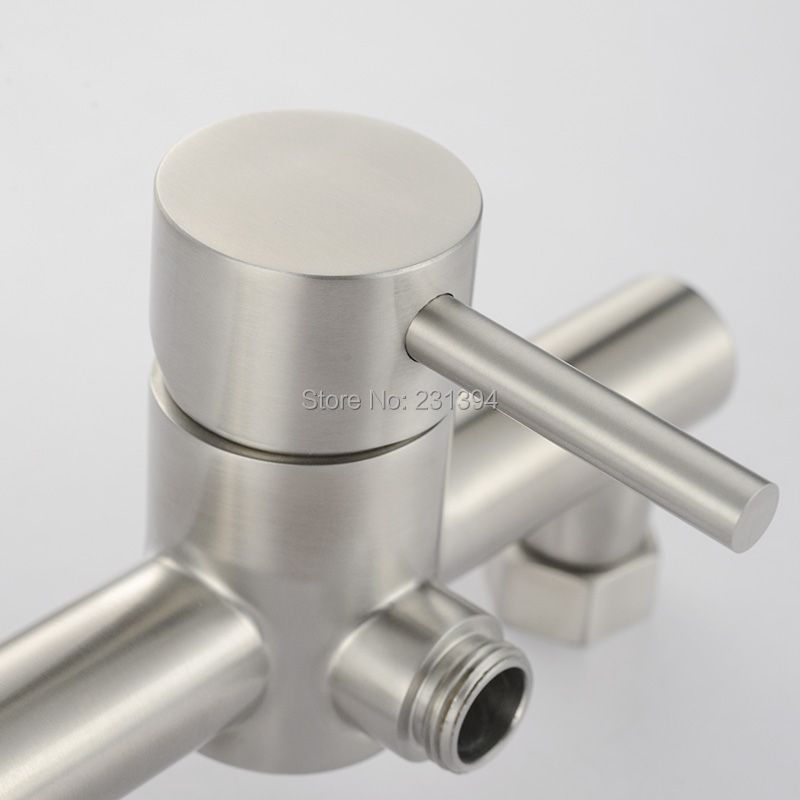 Stainless steel Drawing Exposed Shower Faucet Cold & Hot Water Mixer ...