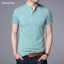 Liseaven mężczyźni stójka koszulka prosta koszulka męska koszulka z krótkim rękawkiem Brand nowe topy i koszulki bawełniana koszulka