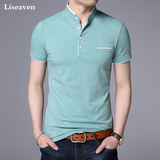 Liseaven גברים מנדרינית צווארון חולצה בסיסי חולצת טי זכר קצר שרוול חולצה חדש לגמרי חולצות & tees כותנה חולצה