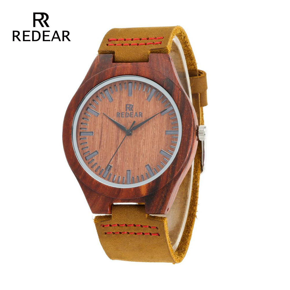 REDEAR Classic Brand Design Red Sandalwood Horloges met zachte - Dameshorloges