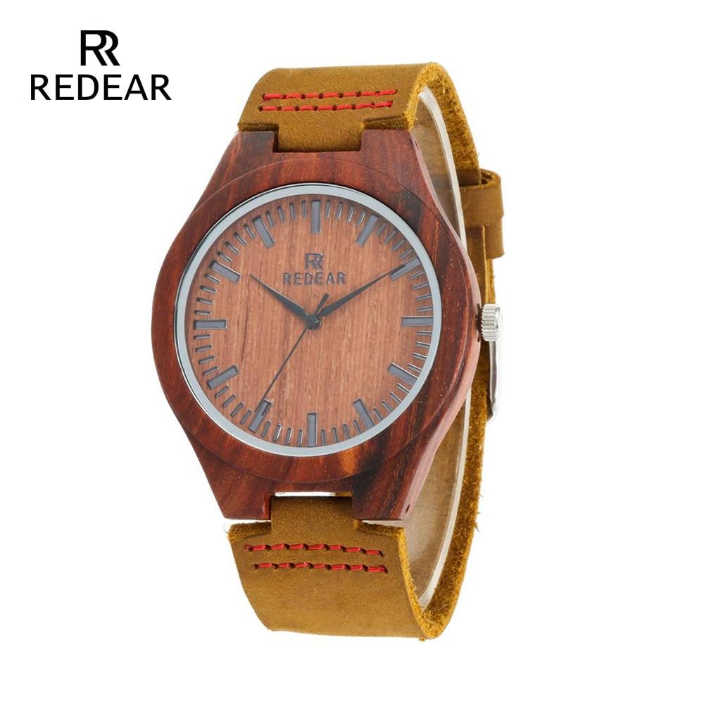 REDEAR Classic Brand Design Red Sandalwood Pulksteņi ar mīkstu - Sieviešu pulksteņi