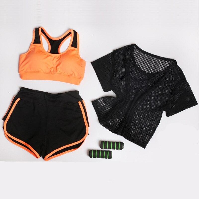 UMLIFE Üç Parça Qadın Yoga Kostyum Mesh T-shirt + Yoga Bra + - İdman geyimləri və aksesuarları - Fotoqrafiya 2