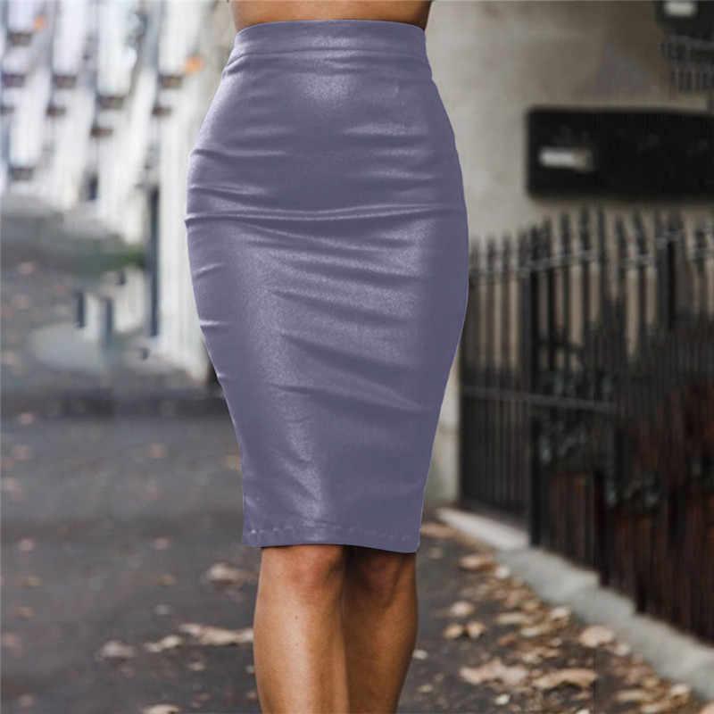 7627a7f75 NewAsia jardín invierno faldas de cuero mujer otoño falda lápiz alta  cintura elegante 2018 faldas Sexy para damas PU falda de cuero