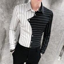 Camisasやつ新着ストライプメンズシャツ長袖カジュアルシャツパッチワークカラー男性服カミーサソーシャルmasculina