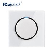 Адррес Wallpad L6 светодиодный 1 Gang 1 Путь случайный нажмите кнопку настенный выключатель света с Светодиодный индикатор белое закаленное стекло Панель