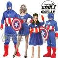 Captain America Traje Familia Juego de Halloween Carnaval Cosplay Traje de La Etapa Mono Película Avengers Steve Rogers Buzos