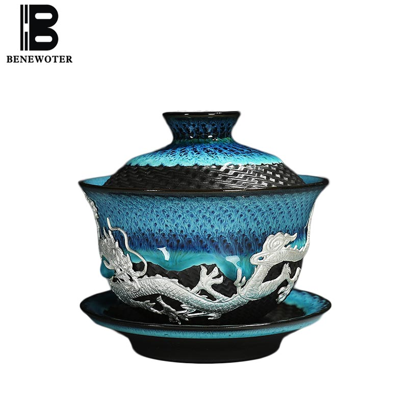 Creative Vintage Ceramic Inlay Silver Gaiwan Home Art Drinkware Clutch Teapot Tea Ceremony Teaware Tea Bowl with Lid Saucer Gift