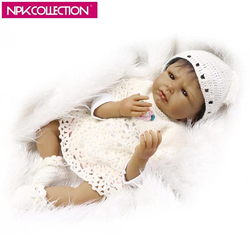 "Black Reborn Baby Dolls Girl Silicone Full Body Vivid African American Bebes 22/"""