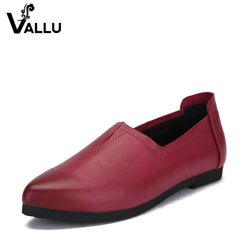 2018 VALLU New Arrival Women Flats Shoes Genuine Leather Pointed Toes Slip on Women Loafers 2016 the new leisure women pointed toes loafers leopard black gray female rivet flat shoes for women s shoes a24