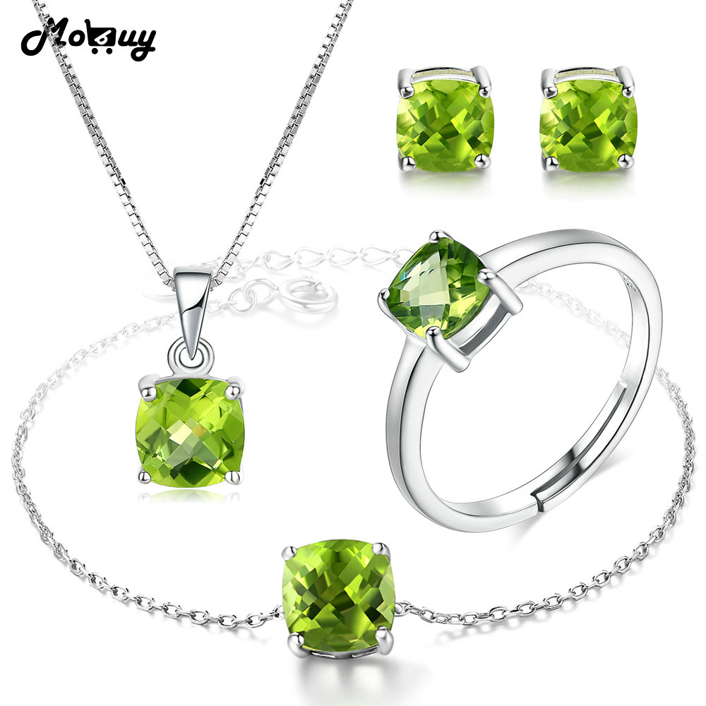 MoBuy Natural Gemstone Green Peridot 4pcs Jewelry Sets 100 925 Sterling Silver For Women Girls Fine