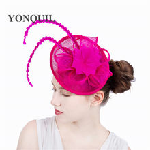 hot pink kentucky fascinators with feather derby hat event Occasion church  hat women bridal wedding hair accessories NEW ARRIVAL 71f00042a99c