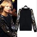 2016 Европейский стиль хлопок Толстовка Блесток Цветочные футболка Женский свободно утолщение рукав шить кисточки пуловеры плюс размер
