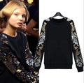 2016 European style cotton Hoodie Sequin Floral sweatshirt Womens loose thickening sleeve stitching tassels pullovers plus size
