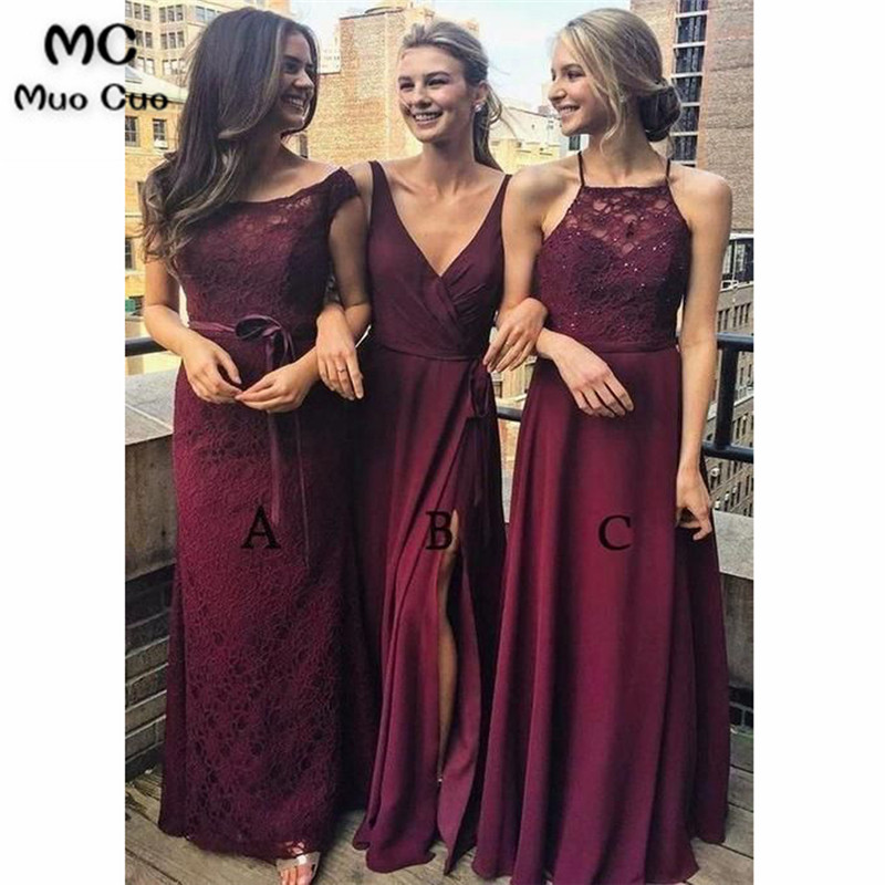 2018 Vintage   Bridesmaid     Dresses   with ABC Design Wedding Party   Dress   Chiffon Lace Prom   Bridesmaid     Dresses   for women