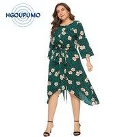 Wipalo Women Plus Size 6XL Leopard Print Floral Dress V Neck Belted Midi Casual Dress Ladies Spring Summer Boho Beach Vestidos