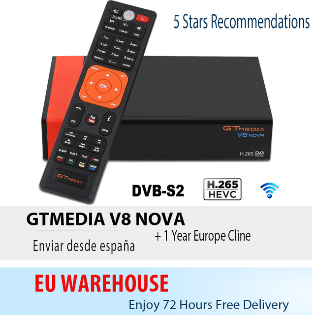 V8 Nova Satellite Receiver Gtmedia V8 NOVA HD 1080P Europe Clines for 1 Year Spain Built Wifi Dongle V9 Super Power by V8 Super