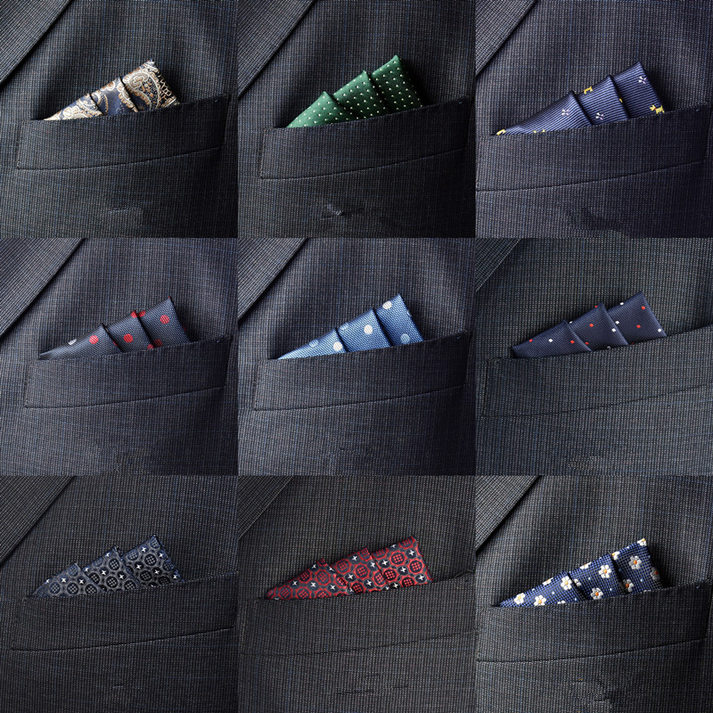 CityRaider Red Pin Dot Patter Dark Blue Silk Hankerchiefs For Men Cotton Pocket Square Green Grey Wholesale C037