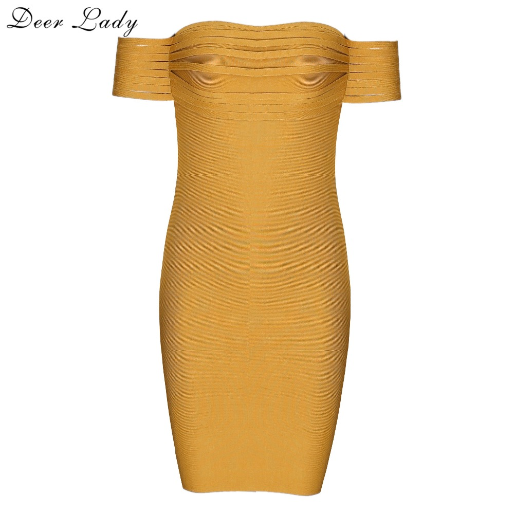 Deer Lady Black Friday 2017 Bandage Dress Winter Women Off The Shoulder Dress With Sleeves Bandage Dress Yellow Mini Wholesale