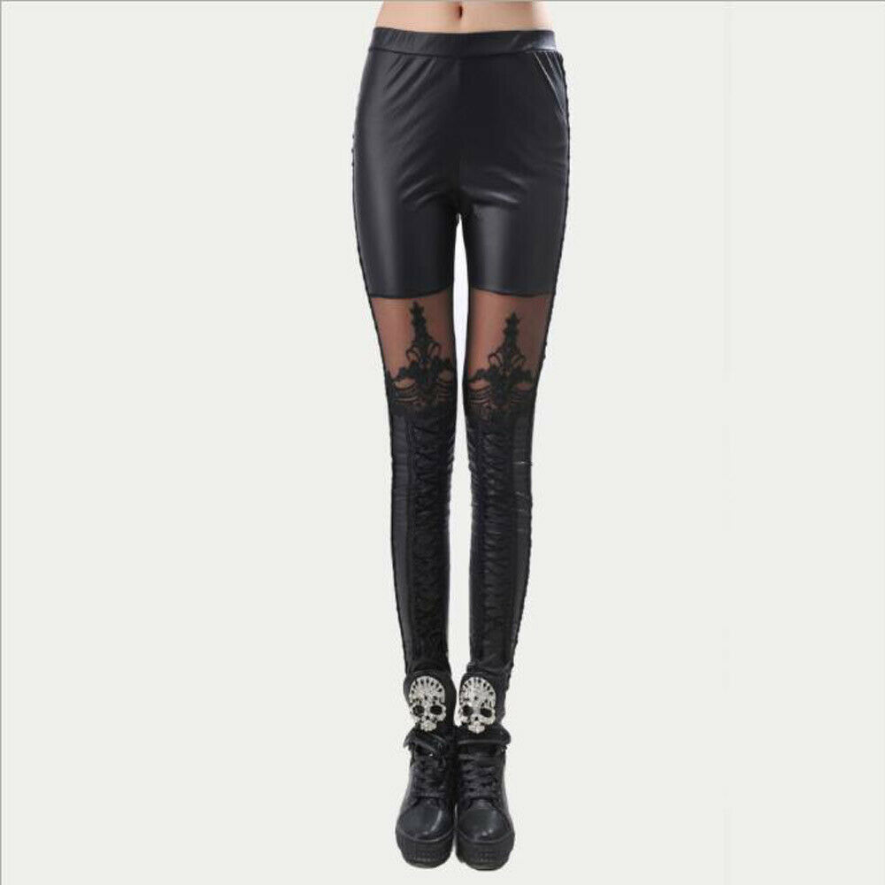 Women's Fashion Skinny Pencil Pants Trousers Slim Fit Bodycon Stretchy Elastic Slim Legging Black Lace Faux Pu Leather Leggings