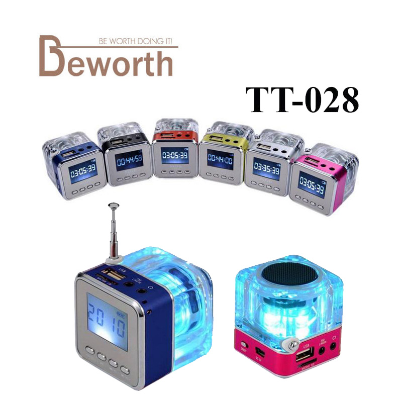 Nizhi TT-028 LED Mini Lautsprecher Kristall Display Portalble TT028 Laut Subwoofer Musik MP3 Player Tf-karte USB mit FM Radio