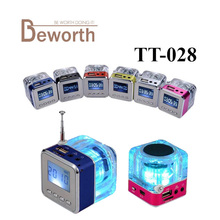 Nizhi TT-028 LED Mini Speaker Crystal Display Portalble TT028 Loud Subwoofer Music MP3 Player Support TF Card USB with FM Radio