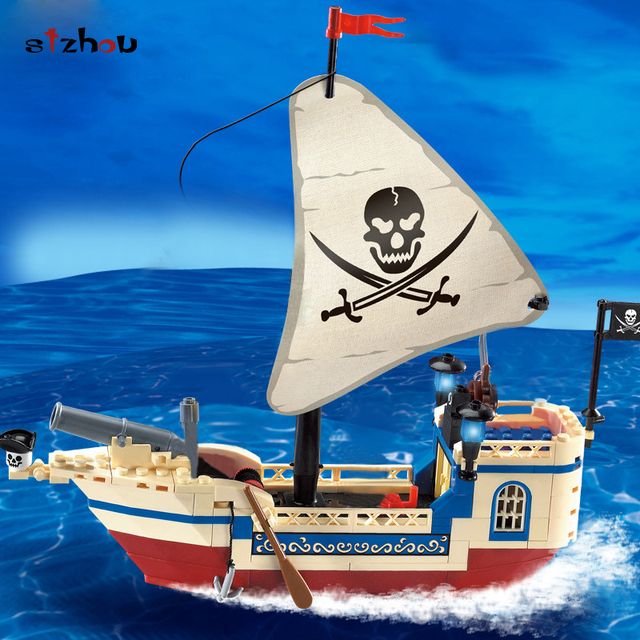 US $10 76 20% OFF Stzhou Enlighten 304 Pirate Ship Blocks Toys for Children  Model Boat Building Kits Small Particles Bricks Toys for Kids Boys -in
