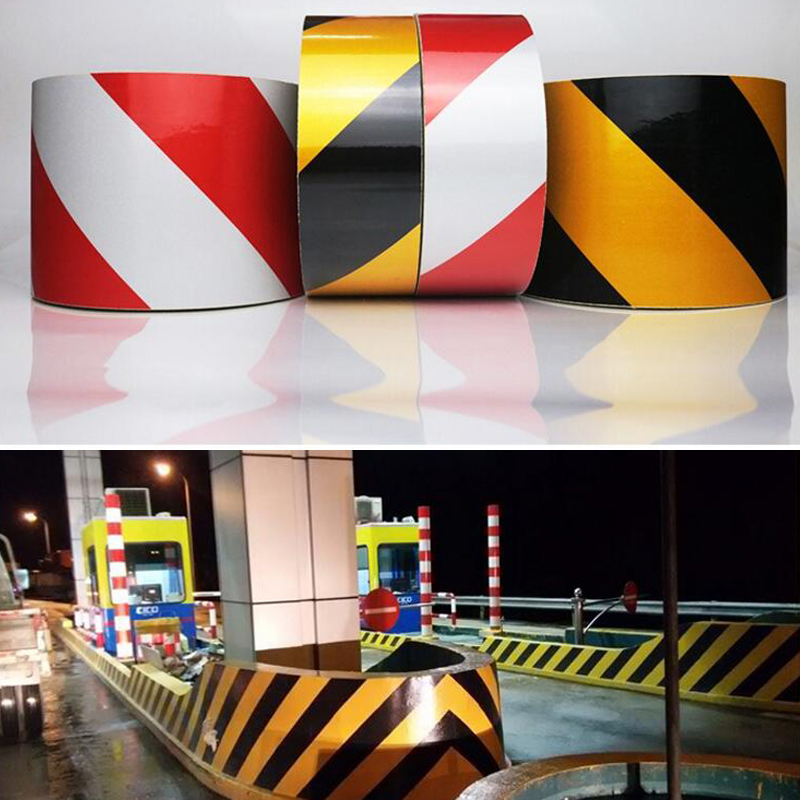 10cm X 10m Self-Adhesive PET Reflective Sticker Warning Strip Decal Corrosion Resistance