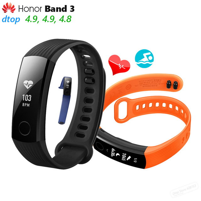 "Auf Lager Original Huawei Honor Band 3 Smart Armband Swimmable 5ATM 0.91 ""OLED Bildschirm Touchpad Herz Rate Monitor Push nachricht"