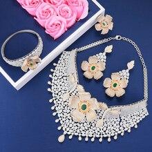 Missvikki 럭셔리 디자인 세련된 큰 꽃 목걸이 팔찌 반지 귀걸이 쥬얼리 세트 여성을위한 브랜드 쥬얼리 웨딩 파티 파티