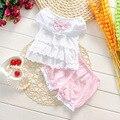 2016 Novo estilo do vestido do verão das meninas do bebê roupas de verão definido para meninas crianças roupas crianças rendas de algodão se adapte curto manga