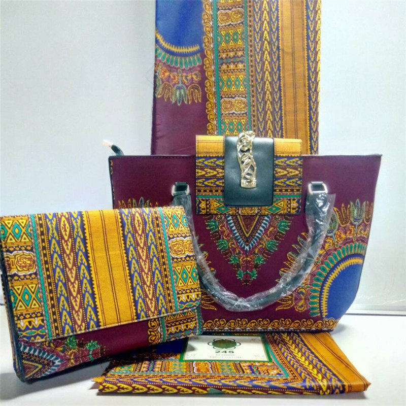 Nigerian Style Ladies Bag With Cotton Fabric font b Set b font Summer African Woman Wax