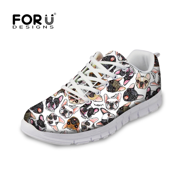 FORUDESIGNS 2018 Spring New Women Casual Sneakers Women Cute Animal Pug Dog  Pattern Female Flats Lace