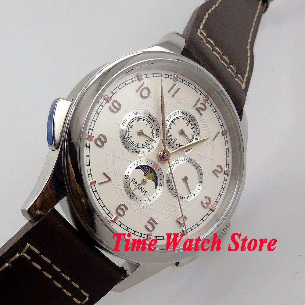 Parnis 44mm esfera blanca oro manos Luna fase multifunción movimiento automático reloj de hombre 18 - 2