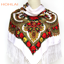 Luxury Brand Printing Oversize Square Blankets Russian Women Wedding Scarf Retro Style Cotton Handkerchief Autumn Winter Shawl