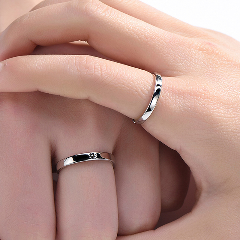 Qevila Fashion Silver color Ring Simple Style Moon Sun Love Adjustable Plate S925 Couple Rings For Girls Boy Best Friend Jewelry (16)