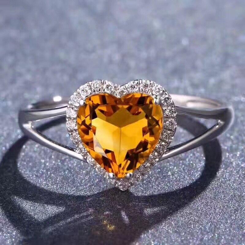 купить Love Ring Citrine ring Natural real citrine Finger ring gemstone 7mm 925 sterling silver Fine yellow crystal jewelry по цене 6731.75 рублей