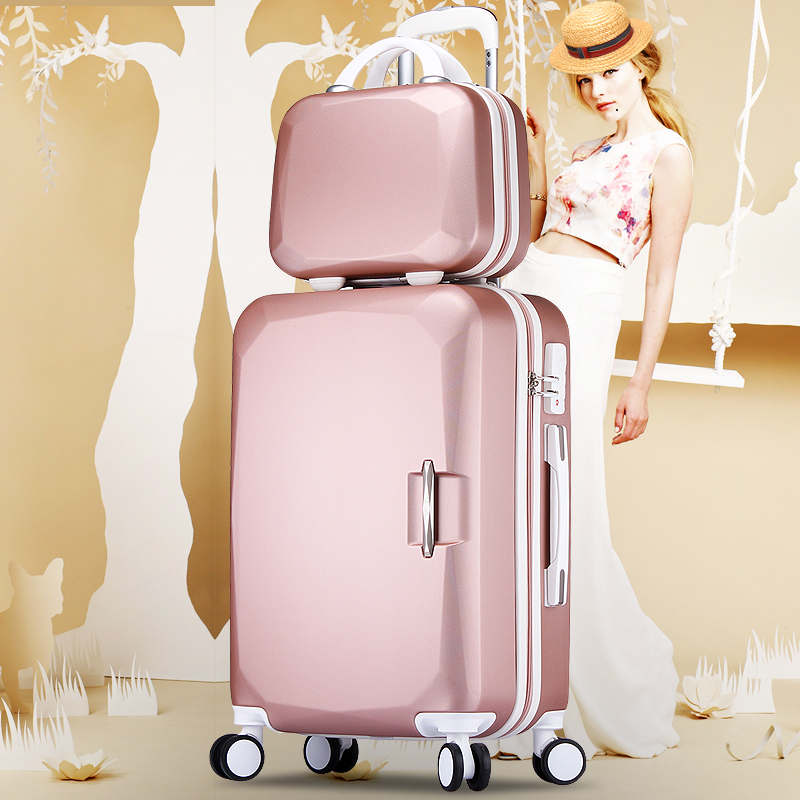 2PCS/SET 14 inch and 20 22 24 26 inch suitcase luggage trolley and universal wheel travel box password girl luggage sets trunk
