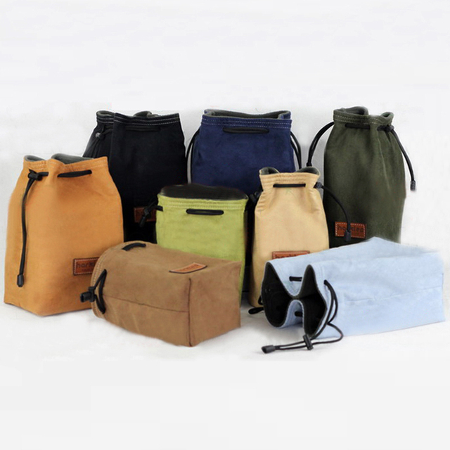 Roadfisher Drawstring Camera Bag Insert Pocket Pouch For Mirrorless Compact Canon Nikon Fuji Leica Sony Panasonic